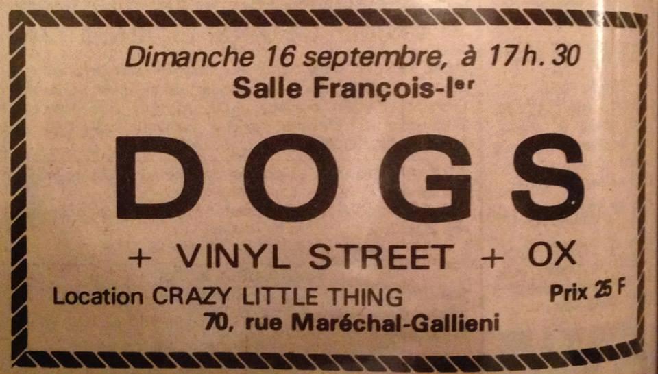 "16 septembre 1979 Dogs, Vinyl Street, Ox au Havre ""Salle François 1er"""
