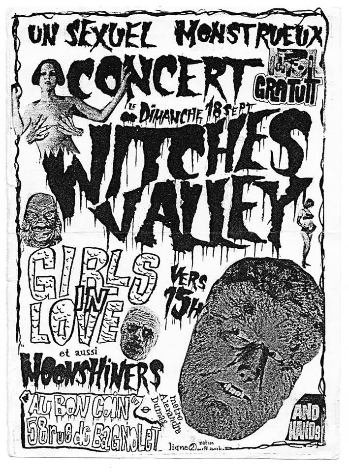 "18 septembre 1988 Witches Valley, Girls In Love, Moonshiners à Paris ""Au Bon Coin"""