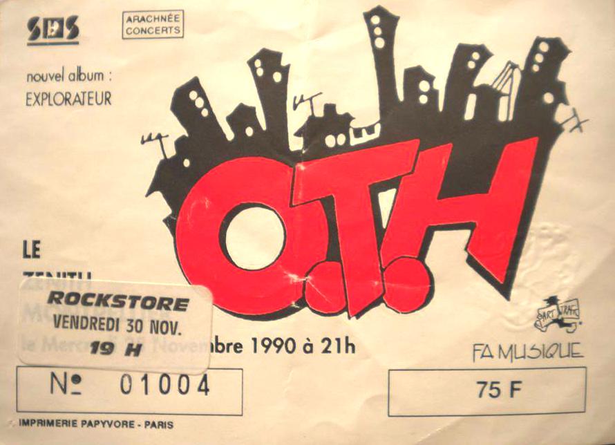 """30 novembre 1990 OTH à Montpellier """"Rockstore"""""""