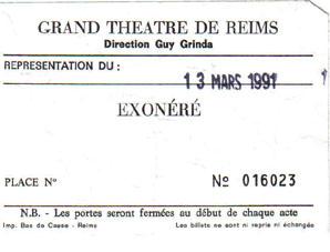 "13 mars 1991 à Reims ""Grand Theatre"""