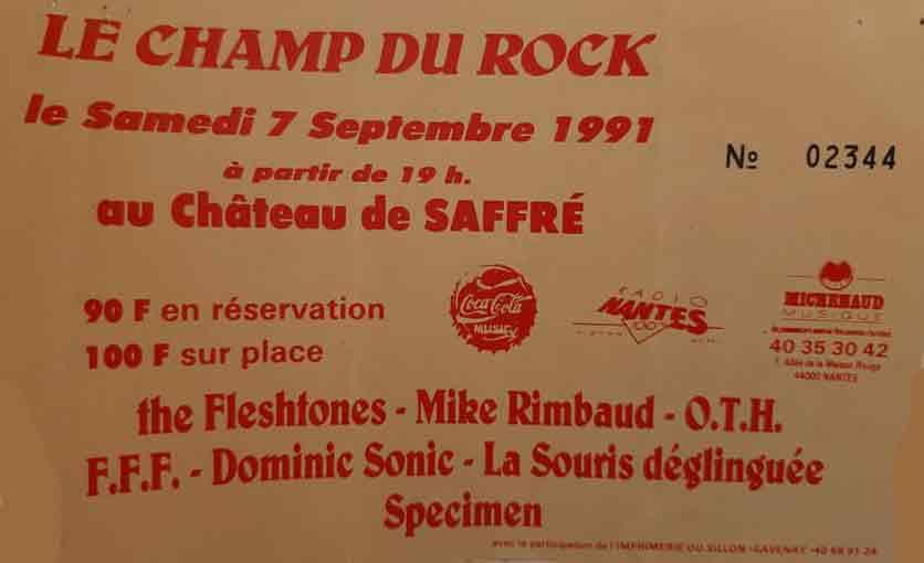 """7 septembre 1991 The Fleshtones, Mike Rimbaud, OTH, FFF, Dominic Sonic, La Souris Déglinguée, Specimen à Saffré """"Chateau"""""""