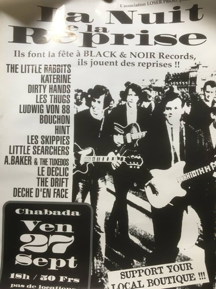 "27 septembre 1996 Little Searchers, Ludwig Von 88, les Little Rabbits, Deche Dans Face, Hint, Boochon, Les Thugs, Katerine, Dirty Hands, les Skippies, A Baker & The Tuxedos, le Declic, The Drift à Angers ""Chabada"""