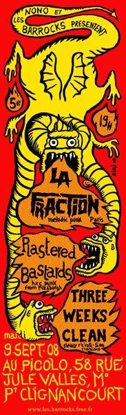 """9 septembre 2008 La Fraction, Rastered Bastards, Three Weeks Clean à Saint Ouen """"Picolo"""""""