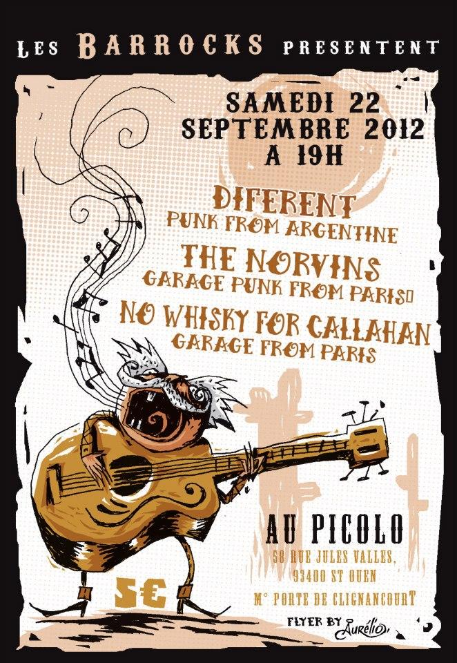 """22 septembre 2012 Diferent, The Norvins, No Whisky for Callahan à Saint Ouen """"Picolo"""""""