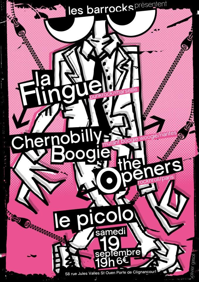 """19 septembre 2015 La Flingue, Chernobilly Boogie, les Punaise (?), The Openers à Saint Ouen """"Picolo"""""""