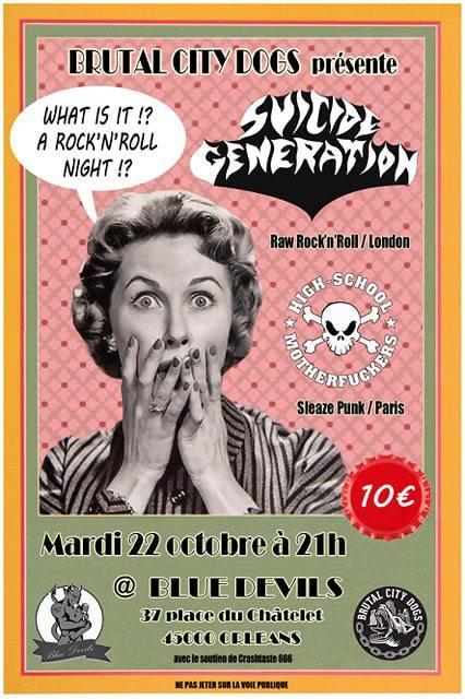"""22 octobre 2019 Suicide Generation, High School Motherfuckers à Orléans """"Blue Devils"""""""