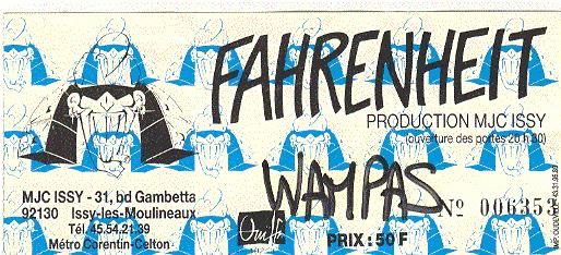 """16 février 1990 Les Wampas, Tom Buzz, Asoha à Issy les Moulineaux """"le Farenheit"""""""