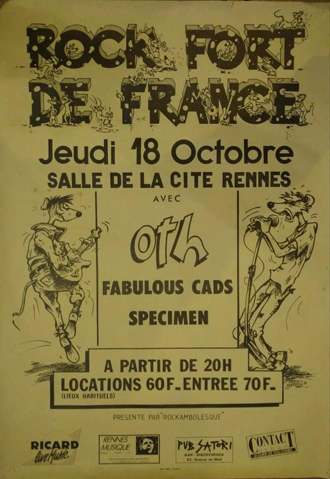 """18 octobre 1990 OTH, Fabulous Cads, Specimen à Rennes """"Salle de la Cité"""""""