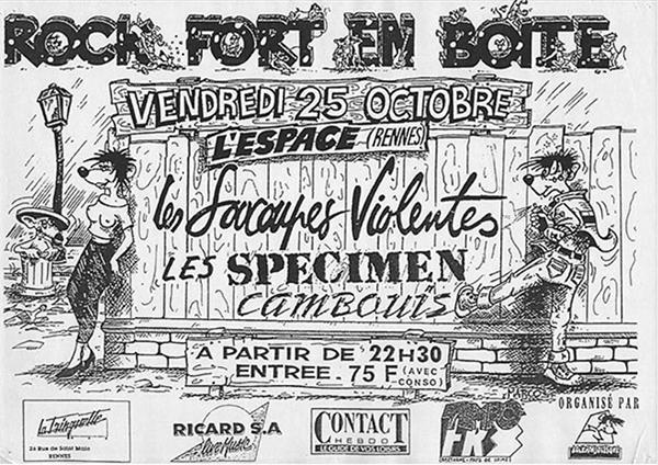 """25 octobre 1991 les Soucoupes Violentes, Specimen, Cambouis à Rennes """"L'Espace"""""""