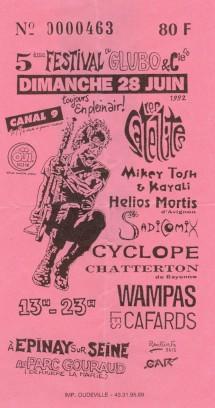 """28 juin 1992 Sadicomix, Cyclope, Helios Mortis, Chatterton, les Cafards, Les Satellites, Mikey Tosh, les Wampas à Epinay Sur Seine """"Parc Gouraud"""""""