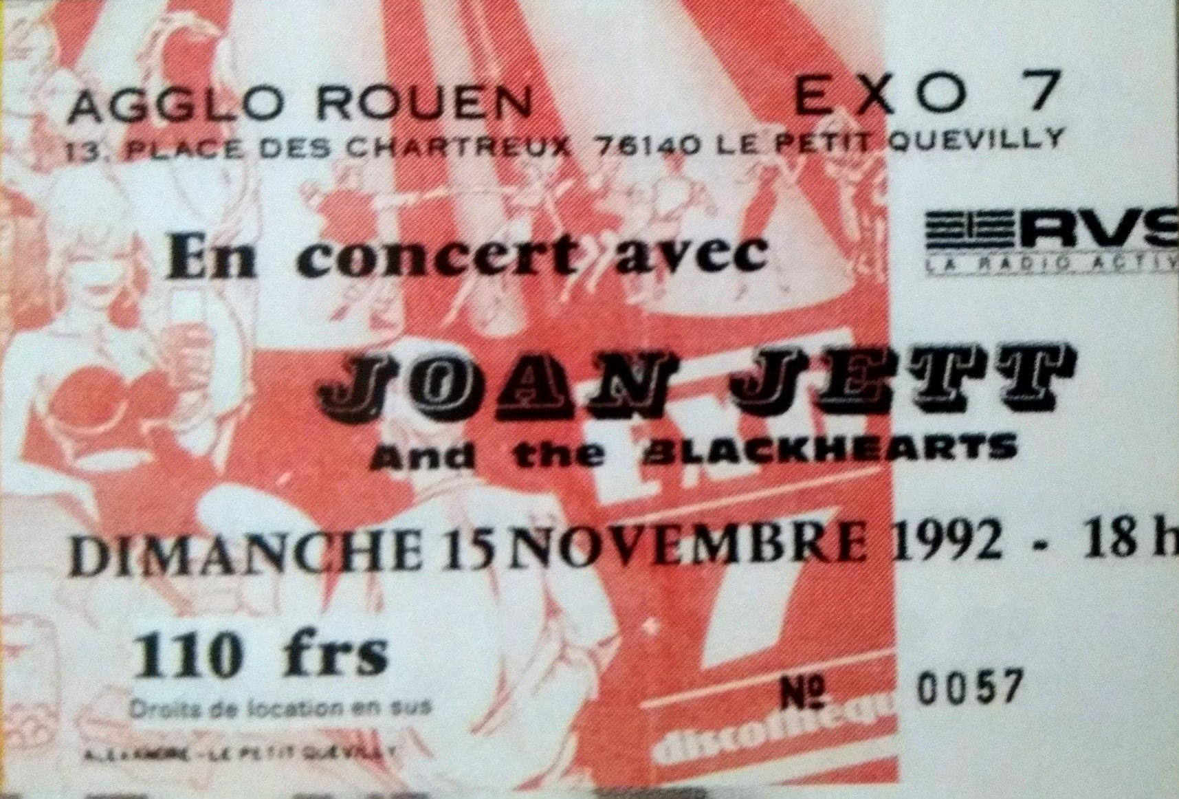 "15 novembre 1992 Joan Jett and The Blackheart à Petit Quevilly ""Exo 7"""