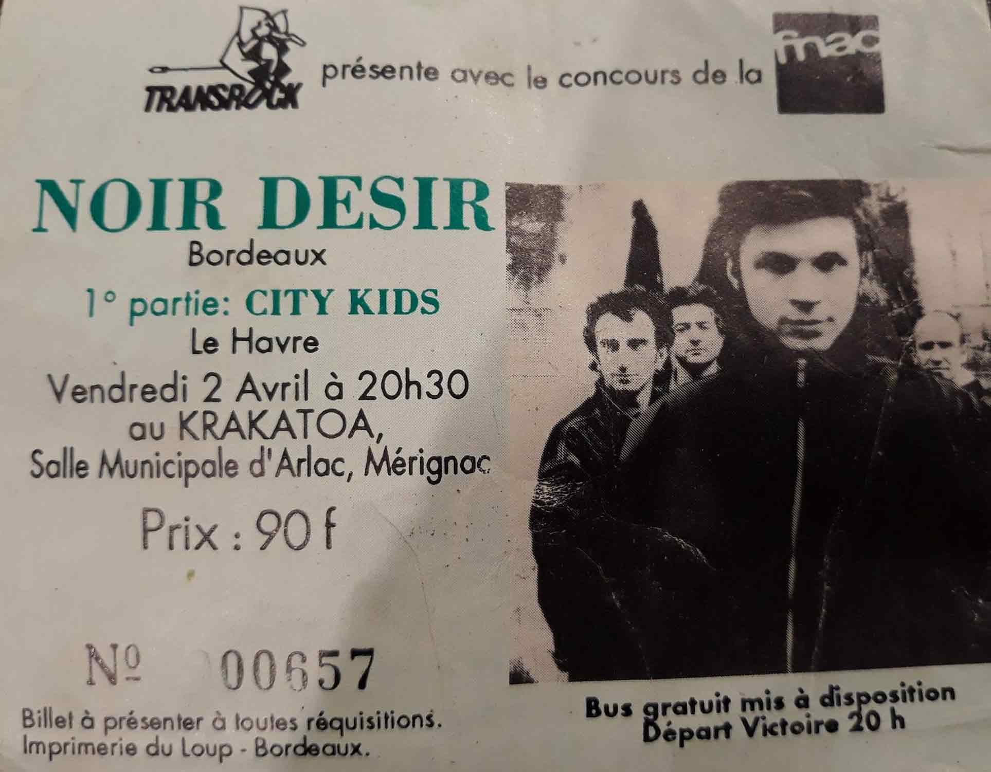 "2 avril 1993 Noir Desir, City Kids à Merignac ""Krakatoa"""