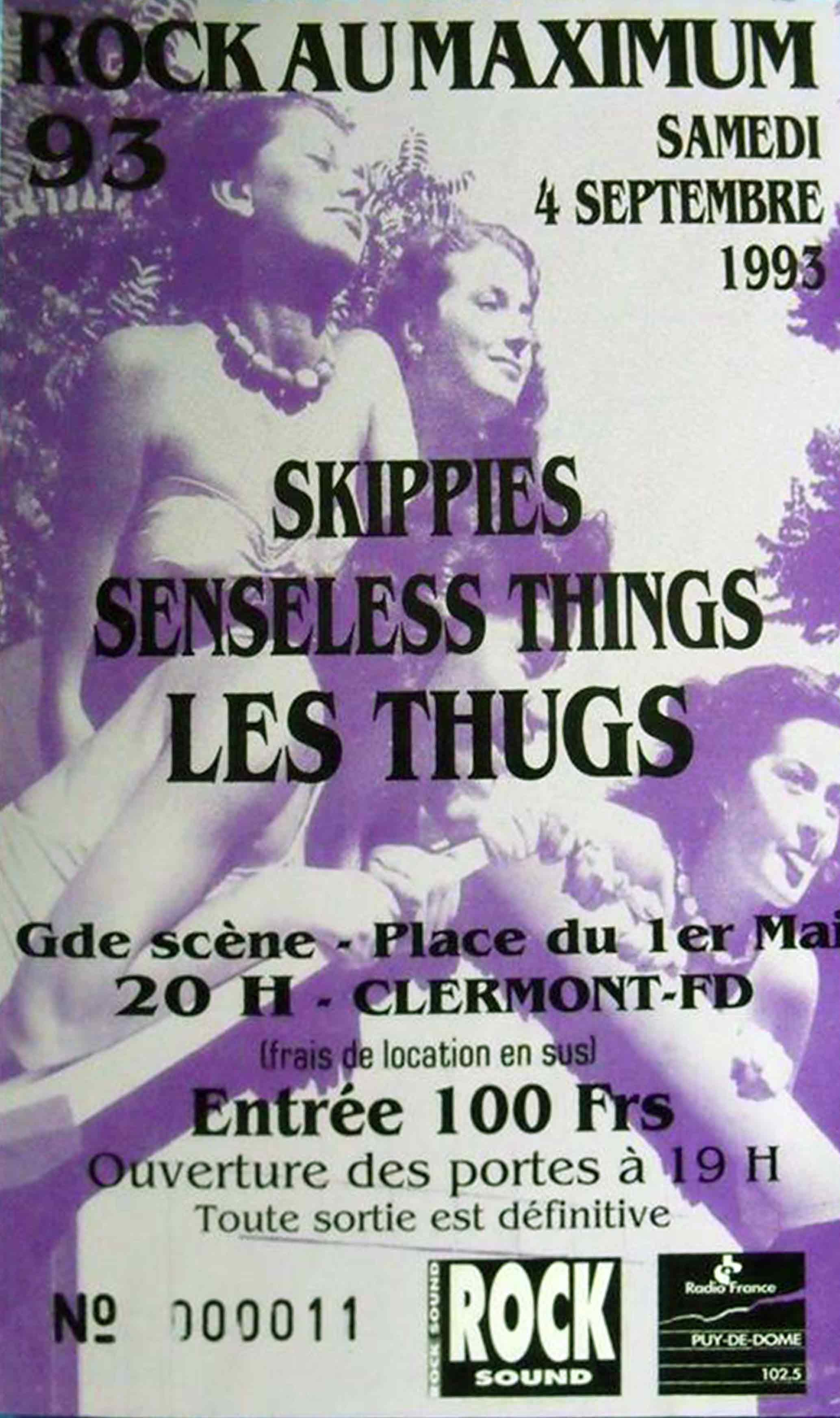 """4 septembre 1993 les Thugs, Senseless Things, Skippies à Clermont Ferrand """"Grande Scene Place du 1er Mai"""""""