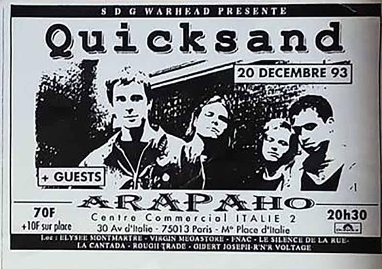 """20 decembre 1993 Quicksand à Paris """"Arapaho"""""""