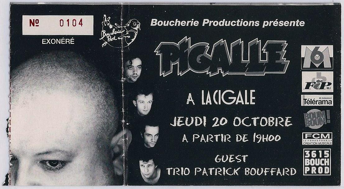 """20 octobre 1994 Pigalle, Trio Patrick Bouffard à Paris """"la Cigalle"""""""
