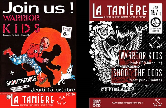 "15 octobre 2015 Shoot The Dogs, Warrior Kids à Saint-Etienne ""La Tanière"""