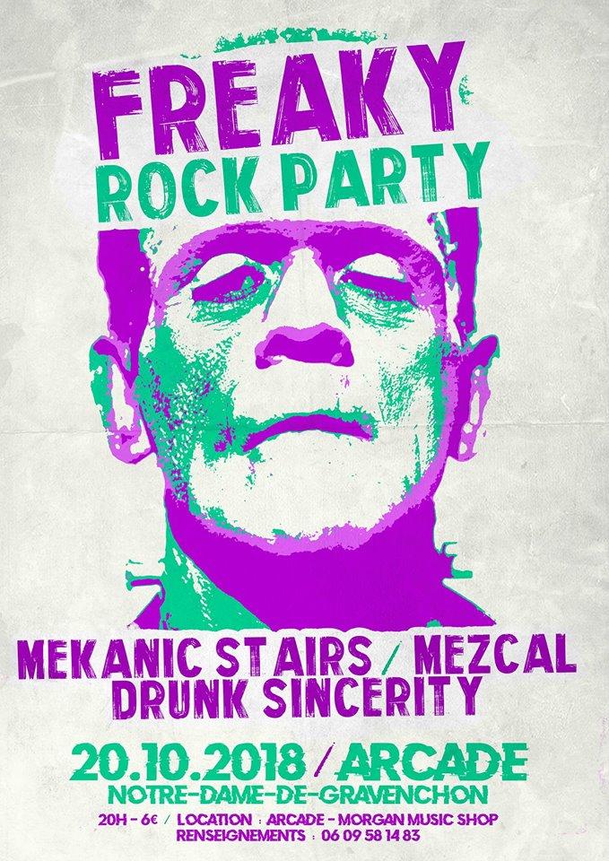 """20 octobre 2018 Mekanic Stairs, Mezcal, Drunk Sincerity à Notre Dame de Gravenchon """"Arcade"""""""