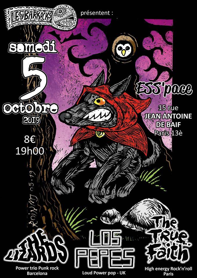 """5 octobre 2019 The Lizards, Los Pepes, The True Faith à Paris """"Ess'Pace"""""""