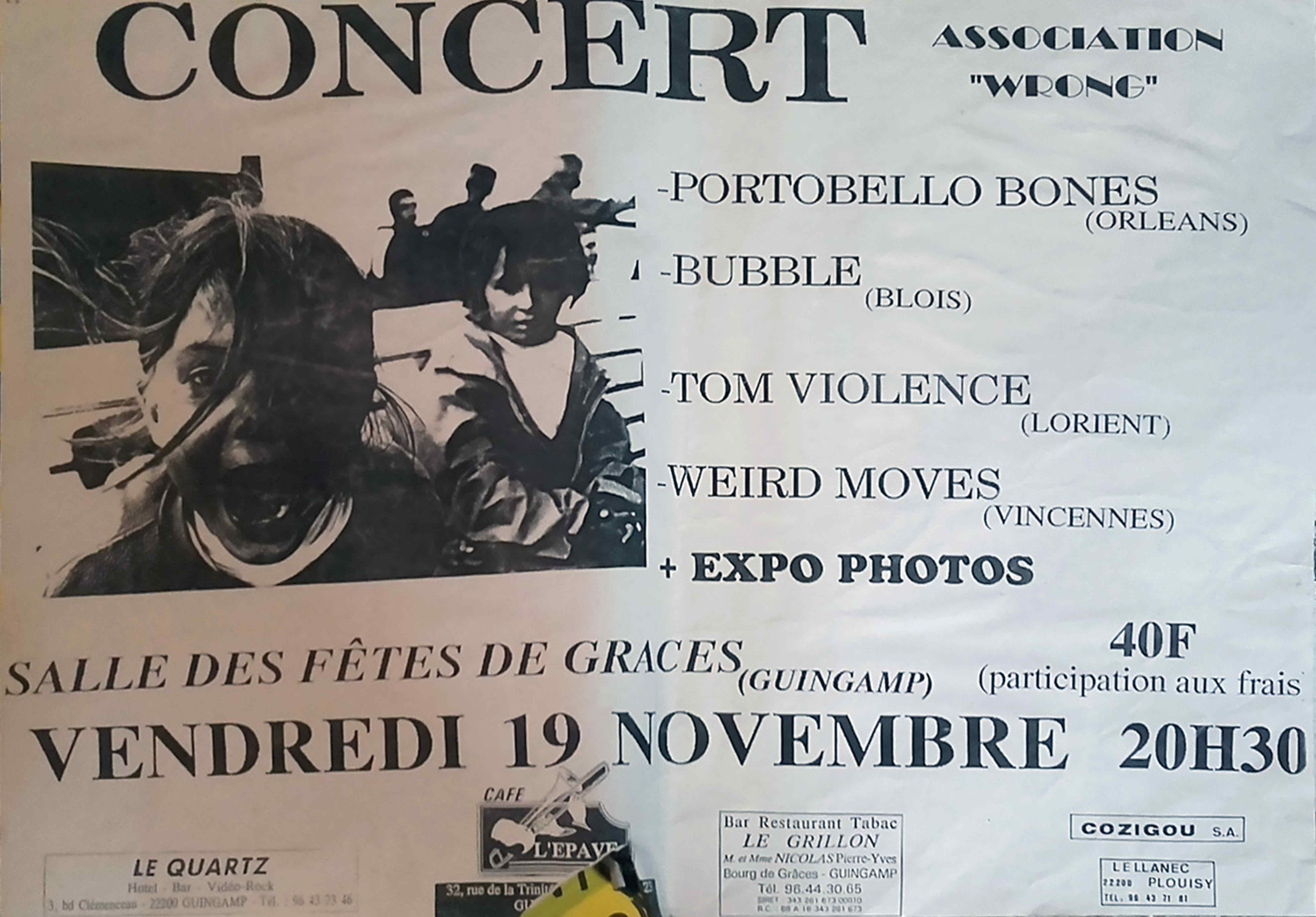 """19 novembre 1993 Portobello Bones, Bubble, Tom Violence, Weird Moves à Graces """"Salle des Fetes"""""""