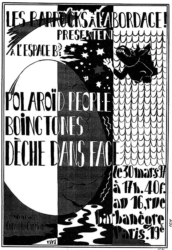 """30 mars 1997 Polaroid People, Boing Tones, Deche Dans Face à Paris """"Espace B"""""""