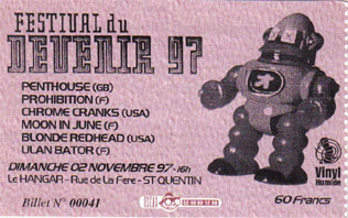 """2 novembre 1997 Penthouse, Prohibition, Chrome Cranks, Moon In June, Blonde Redheat,  Ulan Bator à Saint Quentin """"le Hangar"""""""