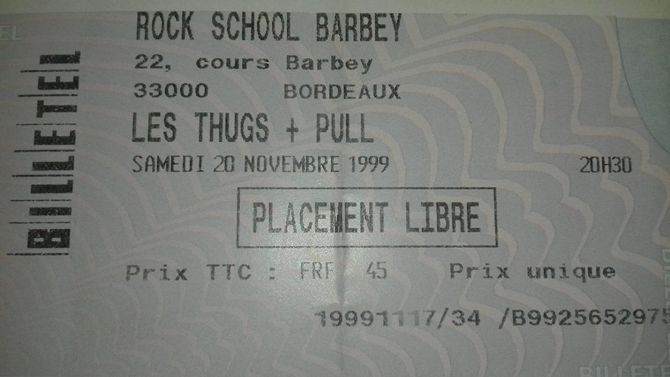 20 novembre 1999 les Thugs, Pull à Bordeaux « Théatre Barbey »