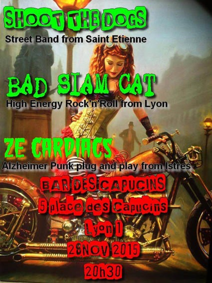 "28 Novembre 2015 Shoot The Dogs, Bad Siam Cat, Ze Cardiacs à Lyon ""Bar des Capucins"""