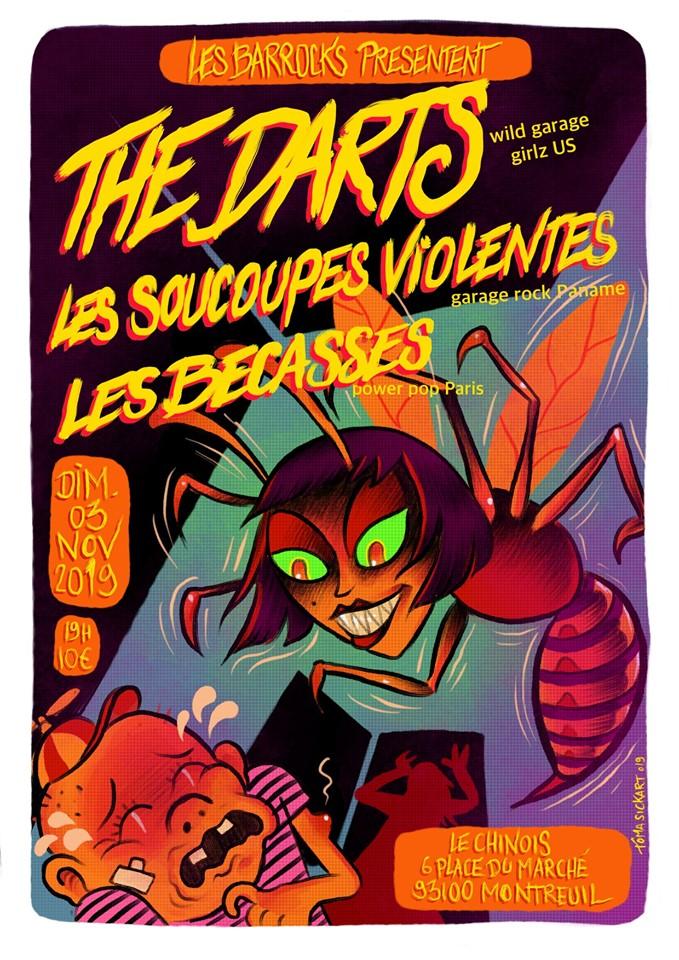 """3 novembre 2019 The Darts, Les Soucoupes Violentes, les Becasses à Montreuil """"le Chinois"""""""