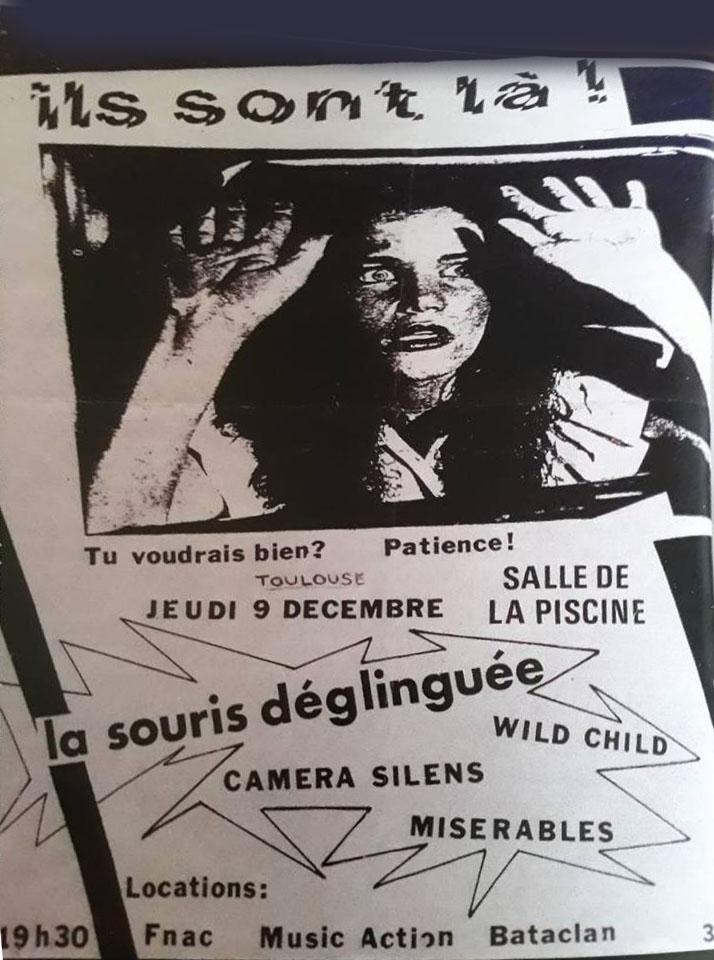 """9 decembre 1982 La Souris Déglinguée, Wild Child, Camera Silens, Miserables à Toulouse """"Salle de la Piscine"""""""