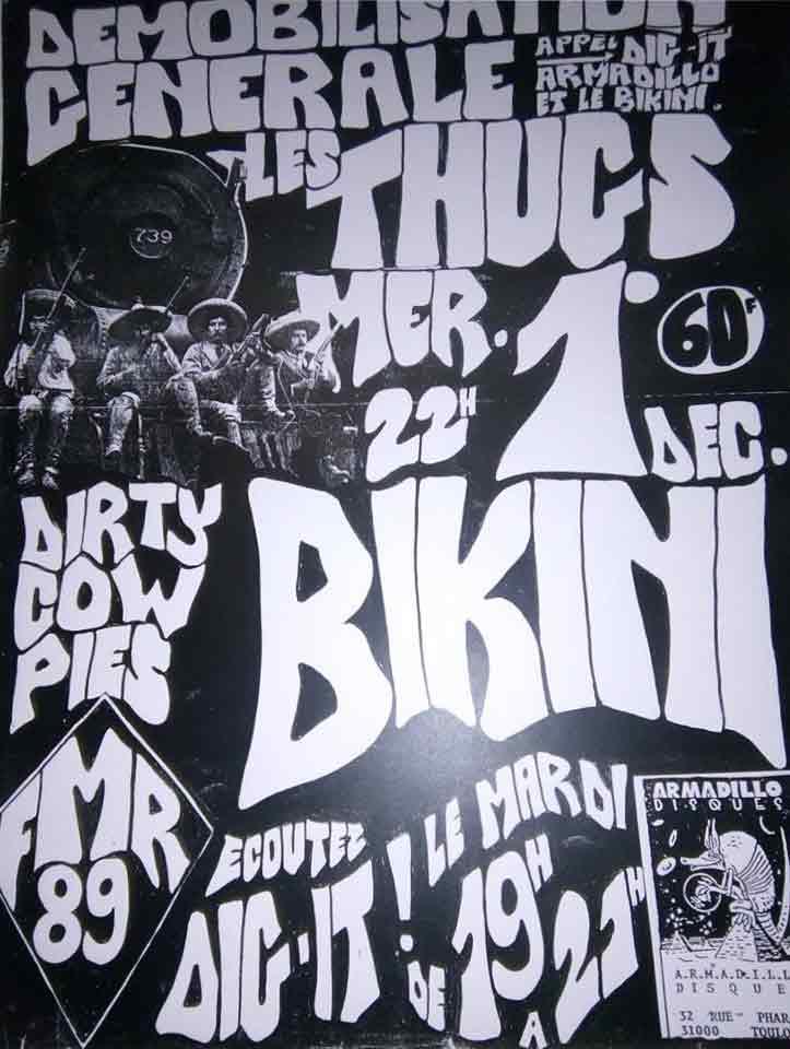 """1er decembre 1993 Dirty Cow Pies, les Thugs à Toulouse """"le Bikini"""""""