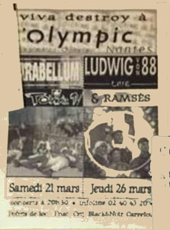 "21 mars 1998 Parabellum, Toxxic TV à Nantes ""Olympic"""