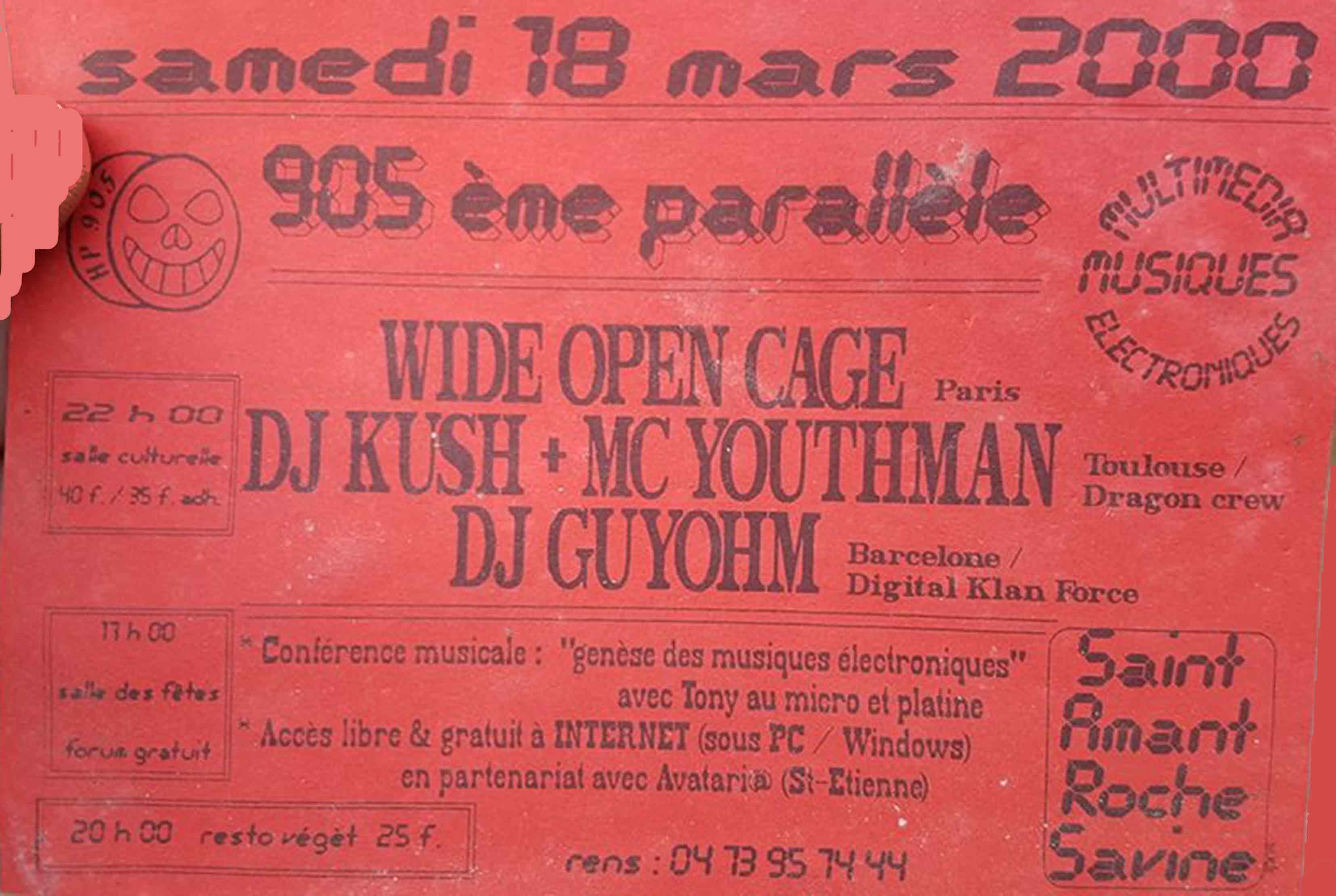 18 mars 2000 Wide Open Cage, DJ Krush, MC Youthman, DJ Guyohm à Saint Amant Roche Savine