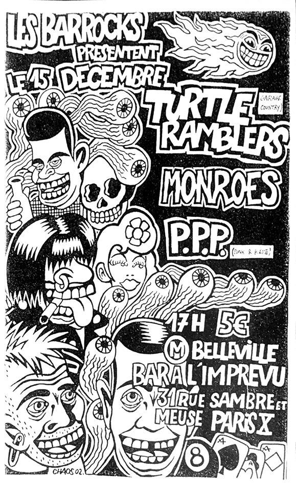"""15 decembre ? Turtle Ramblers, Monroes, PPP à Paris """"Bar l'Imprevu"""""""