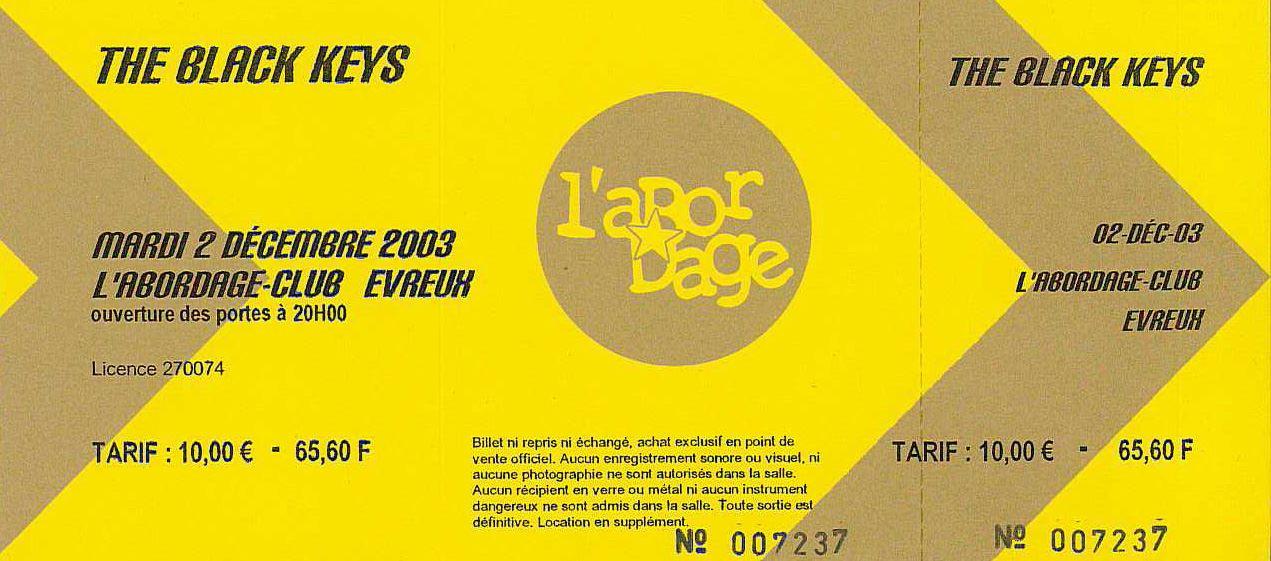 """2 decembre 2003 The Black Keys à Evreux """"l'Abordage"""""""