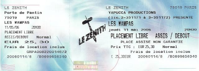 """11 mai 2006 Les Wampas à Paris """"le Zenith"""""""