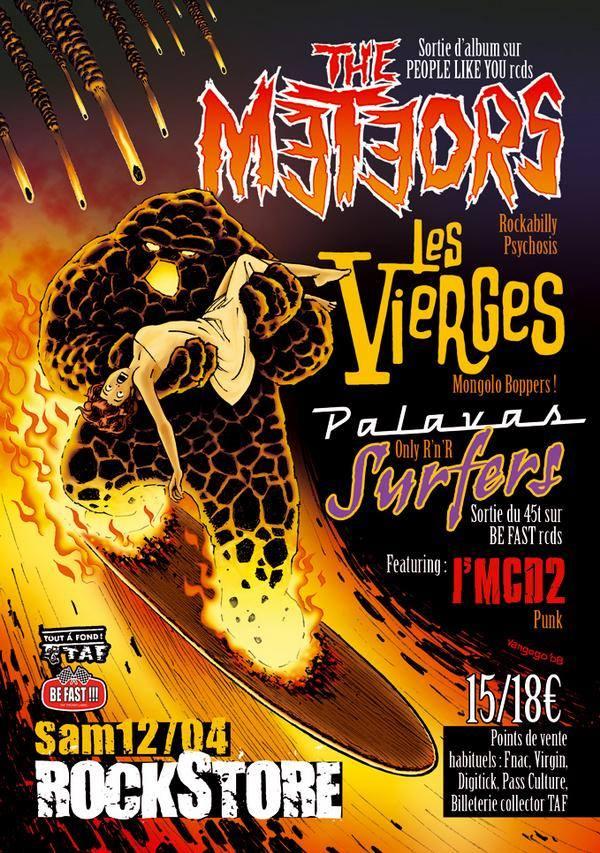 """12 avril 2008 The Meteors, les Vierges, Palavas Surfers à Montpellier """"Rockstore"""""""