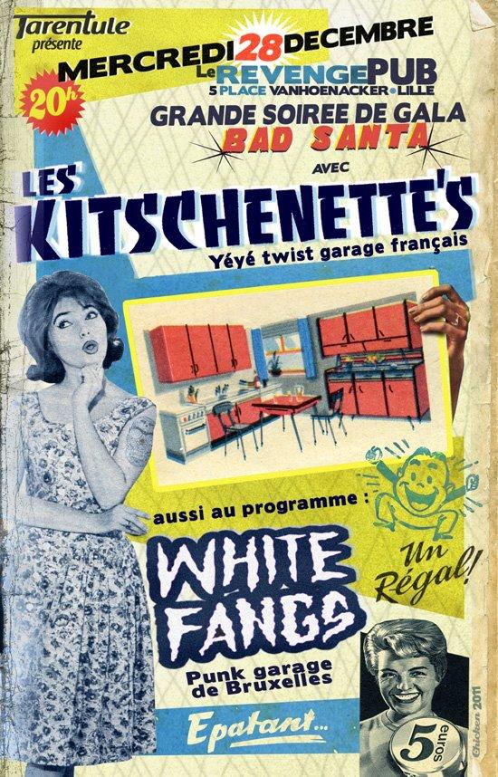 """28 decembre 2011 Les Kitschenette's, White Fangs à Lille """"le Revenge Pub"""""""