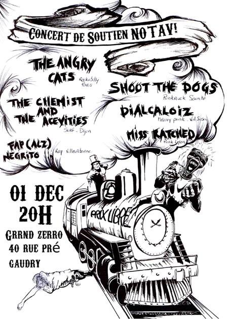 "1er décembre 2012 Shoot The Dogs, Angry Cats, Dialcaloiz (Annulé), Miss Ratched, The Chemist & the acevities à Lyon ""Lyon's Hall"""