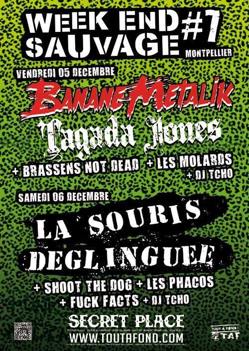 """5 décembre 2014 Banane Metalik, Tagada Jones, Brassens Not Dead, Les Molards, DJ Tcho à Montpellier  """"Secret Place"""""""