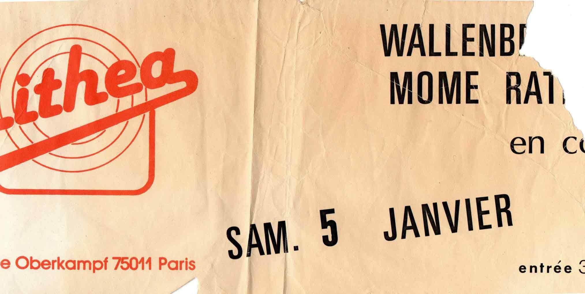 """5 janvier 1985 Wallenberg, Mome Rath à Paris """"Cithea"""""""